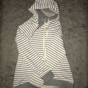 Maurice's White and Grey Striped Hoodie